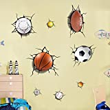 BIBITIME Sport Balls Break Through Wall Decal Rugby Football Soccer Ball Billiard Baseball Ping-pong Golfball Basketball Stickers Vinyl Art Murals for Nursery World Cup Theme Bedroom Decor