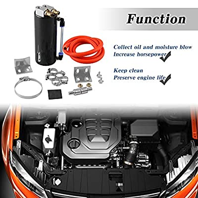 Universal Aluminum Racing Engine Oil Catch Tank CAN Kit Turbo Reservoir Billet Round 350ML Black: Automotive