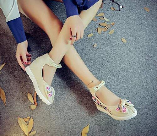 Blancos 38 Tamaño Informales Bordados Moda Femeninos Suela Lino Estilo Zapatos color Eeayyygch Metros Cómodos Aumentados Tendón De Étnico 6UqZpxnTx