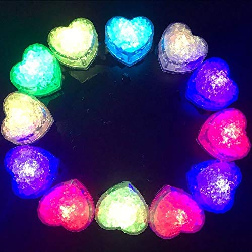 Hongtang 12Pcs Multicolors Love Heart Liquid Sensor Changing Blinking Flashing LED Light Up LED Ice Cubes Event Party Decoration -