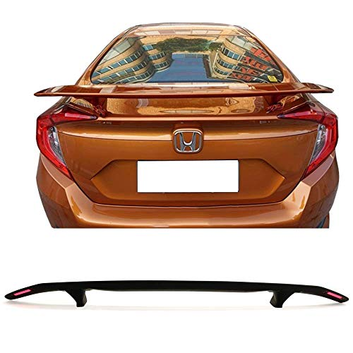 Cl Spoiler Acura (Trunk Spoiler Universal Fitment | ABS Black Trunk Spoiler Deck Wing With 2 Posts & LED Turn Signal Light By IKON MOTORSPORTS)