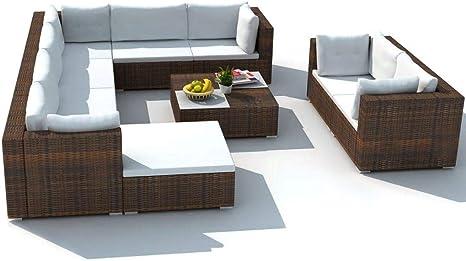 mewmewcat Conjunto Muebles de Jardín de Ratán 32 Piezas Sofa Jardin Exterior Sofas Exterior Poli Ratán Marrón: Amazon.es: Deportes y aire libre