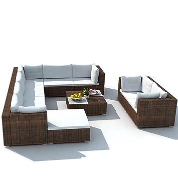 mewmewcat Conjunto Muebles de Jardín de Ratán 32 Piezas Sofa ...
