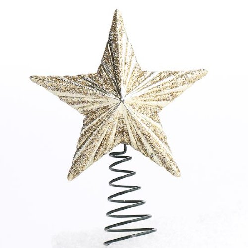 Package of 6 Miniature Glittery Gold Toned Elegant Star Tree Toppers