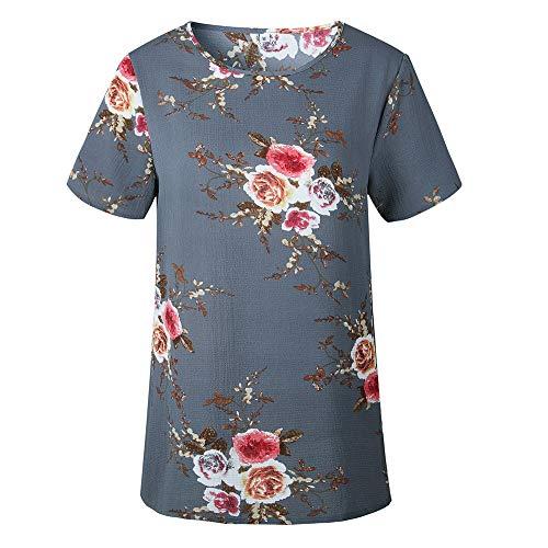L mousseline Chemisier manches des Vtements Impression soie florale courtes Gris de Hauts d't Accessoires Ndier femmes shirts Casual en T wTRq1CX