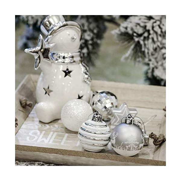 Victor's Workshop Addobbi Natalizi 35 Pezzi 5cm Palle di Natale, Frozen Winter Silver e White Shatterproof Christmas Ball Ornaments Decoration for Christmas Tree Decor 5 spesavip