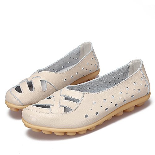 Slippers Slip Leather Indoor Cut White on Out Women's Off Shoes Loafers Breathable Driving Flat SUNROLAN 8qvEW