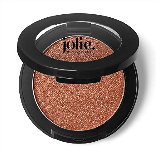 Jolie Silky Molten Pressed Powder Eyeshadow, Ultra Blendable Metallic Shimmery Finish – Rosy Apricot