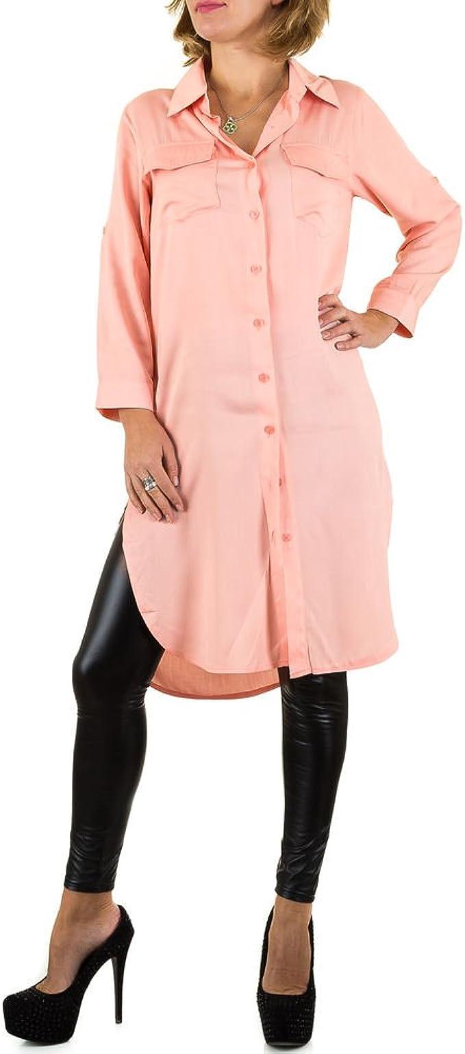 Ital Design Hemd Tunika Long Bluse Für Damen, Rosa In Gr. M