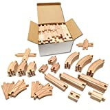 Tiny Conductors 52 Piece Wooden Train Track Set - 100% Real Wood, Compatible with Thomas and All Other Major Brands Wooden Toy Railroad Sets (52-Piece)