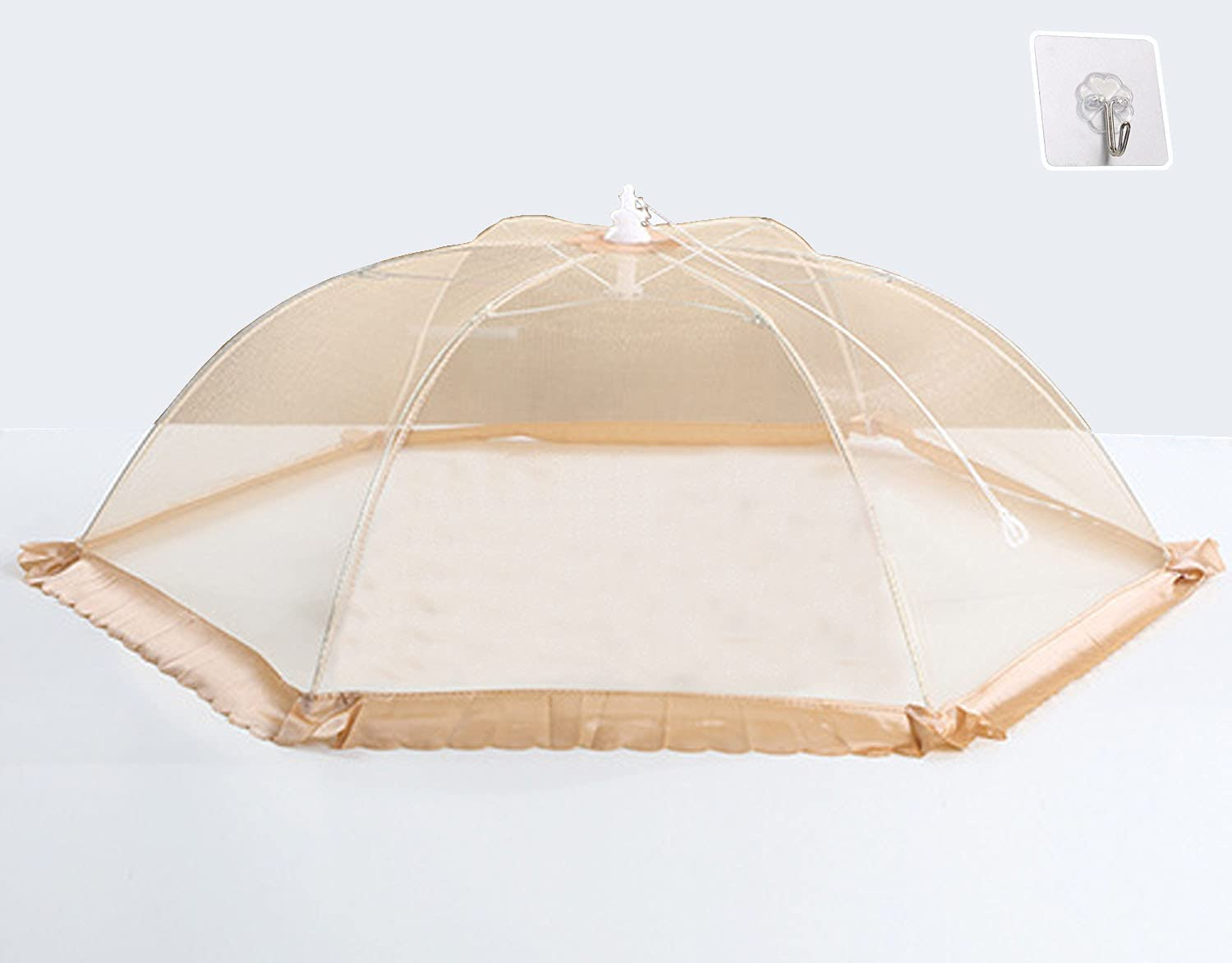 TQHY for Food Cover,Dish cover,Fruit cover With punch-free hook,Pop-up mesh food cover tent, suitable for home, outdoor, tent, party picnic, barbecue, reusable and foldable (Light coffee style)