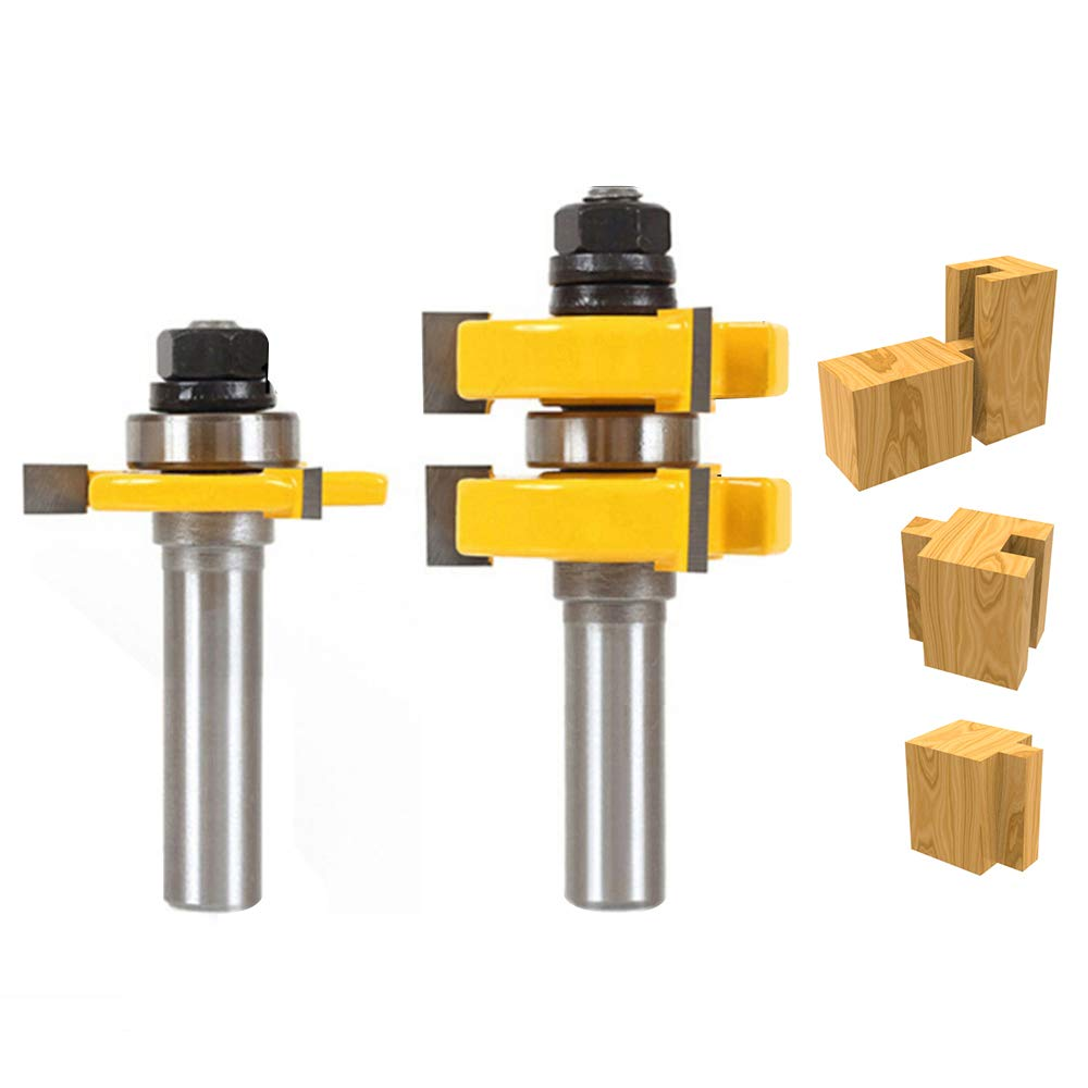 Kitspro Tongue and Groove Set,2Pcs Router Bits Set 1/2'' Shank,Wood Door Flooring 3 Teeth Adjustable T Shape Wood Milling Cutter Woodworking Tools by KitsPro (Image #1)