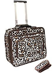 World Traveler Fashion Print Womens Rolling 17-Inch Laptop Case, Brown Leopard, One Size