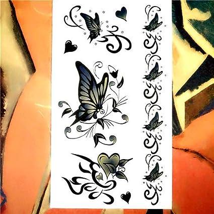 Etiqueta Engomada Del Tatuaje Temporal Sleeves Mariposa Verde ...