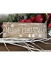"""Rustic Designs - Merry Christmas Sign - Rustic Farmhouse Christmas Decor - Vintage Decor for Wall Decor Christmas Decorations - Real Solid Pine Wood (15"""" x 6"""" x 1"""")"""