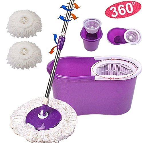 360° Easy Clean Floor Mop Bucket 2 Heads Microfiber Spin Rotating Head, The spinning mop pole will dry the mop head quick and efficiently so you can continue cleaning. (Purple)