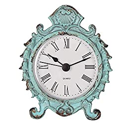 NIKKY HOME Shabby Chic Baroque Style Pewter Quartz Small Round Mini Table Clock 3.12 x 1.35 x 3.87 Light Green