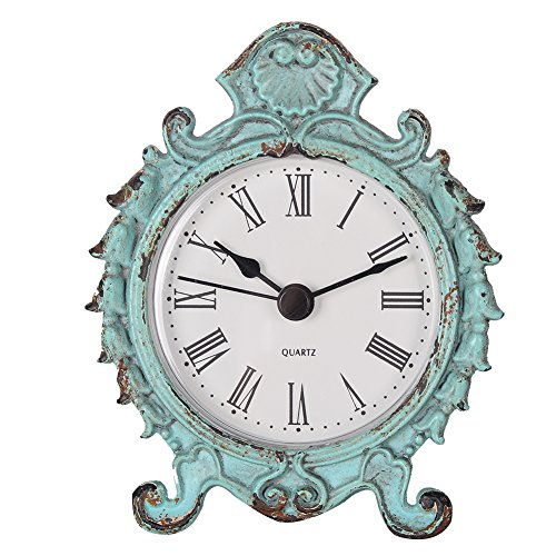 Blue Rustic Desk (NIKKY HOME Shabby Chic Baroque Style Pewter Quartz Round Table Clock)