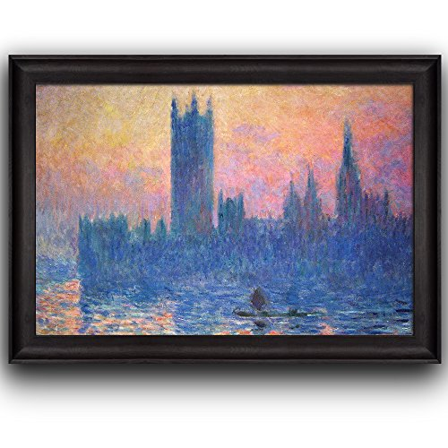The Houses of Parliament Sunset by Claude Monet (No Signature) Framed Art
