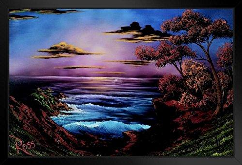 Ebony Art - Bob Ross Ebony Sea Art Print Painting Framed Poster 14x20 inch