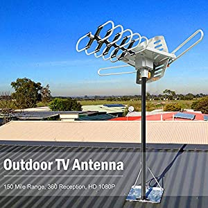 Vansky Amplified HD Digital Outdoor HDTV Antenna 150 Miles Range with Motorized 360 Degree Rotation - UHF/VHF/FM Radio with Wireless Remote Control