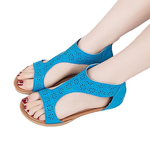 FORUU Women Gladiator Sandal Zip Closure Insole Sandal Closure Moderate Heels (39, Blue) by FORUU womens shoes