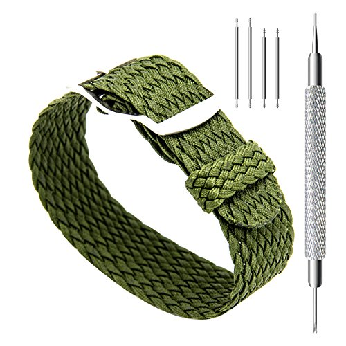 CIVO 20 mm Simple Design NATO Watch Strap Premium Nylon Perlon Braided Woven Watch Bands with Stainless Steel Buckle (Army Green, 20mm)