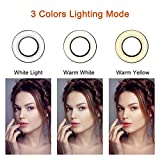 Selfie Ring Light with Cell Phone Holder Stand for Live Stream/Makeup, UBeesize Mini LED Camera Lighting with Flexible Arms Compatible iPhone/Android