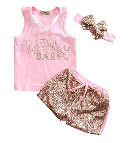 3 Style Baby Girl Gold Letter Print Sleeveless Vest +Gold Sequins Shorts Pants Outfit Set +Bowknot Headband, Pink, 100  (12-24M)