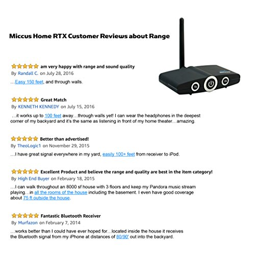 Miccus LONG RANGE Bluetooth Transmitter and Receiver 2-in-1, Adapter to add wireless audio to TV, PC, speakers, stereos, iPhone, iPad, laptop and more. 3.5mm or RCA (Home RTX - 2 Yr. Warranty)