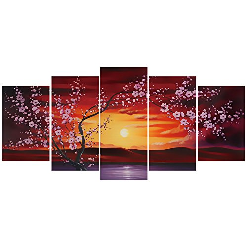 GEVES Sunrise Sakura Blossom Oil Painting Giclee Print Art Paintings for Living Room Bedroom Wall Decor Prints Framed ()