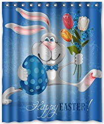 Popular design Happy Easter Cute Rabbits Shower Curtain