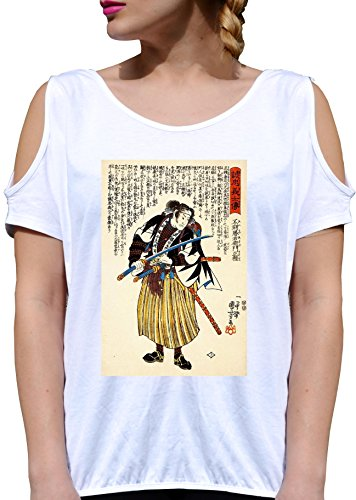 T SHIRT JODE GIRL GGG27 Z1806 VINTAGE JAPAN PAPER DRAW SAMURAI SWORD FASHION COOL BIANCA - WHITE S