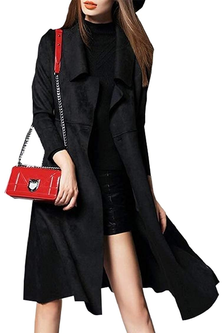 Black GAGA Women's New Long Sleeve PU Leather Slim Fit Long Coat Maxi Jacket