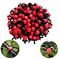 Kalolary 100Pcs 1/4Inch Adjustable Micro Drip Irrigation System Watering Sprinklers Anti-clogging Emitter Dripper Red Garden Supplies