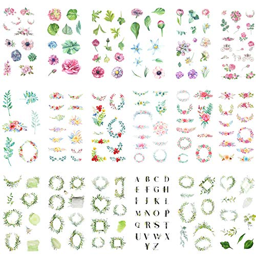 Fresh Sticker Set (18 Sheets) Floral Daisy Rose Narcissus Wreath Green Leaf English Alphabet Carriage Horse Stickers for Album Scrapbooking Travel Journal Diary Handmade DIY Craft Adhesive Label