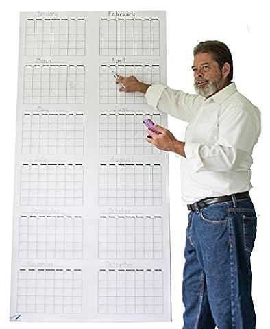 Large Wall Calendar - Dry Erase Annual Wall Calendar Blank and Reusable - 36