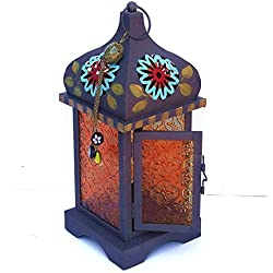 Large Metal Moroccan Bohemian Candle Lantern with Colorful Hand Painted Flowers