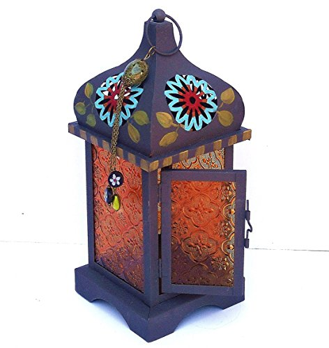 - Large Metal Moroccan Bohemian Candle Lantern with Colorful Hand Painted Flowers