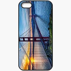 Protective Case Back Cover For iPhone 5 5S Case Bridge Water Coast Sun Black