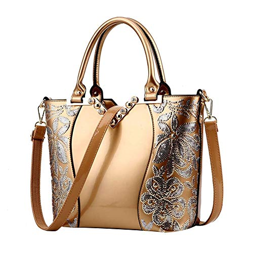 Hobo Patent Large Leather (Women Handbags Hobo Shoulder Bags European and American Style Luxury Sequin Embroidery Women Bag Patent Leather Handbag Diamond Shoulder Messenger Bags)