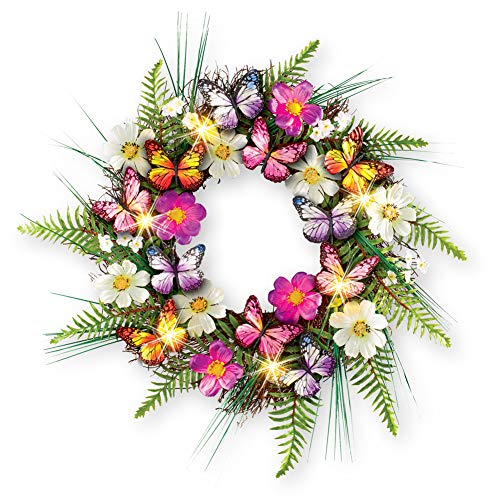 Collections Etc Lighted LED Multi-Colored Butterfly Wreath with Greenery - Seasonal Window or Door Accent for Any Room in Home