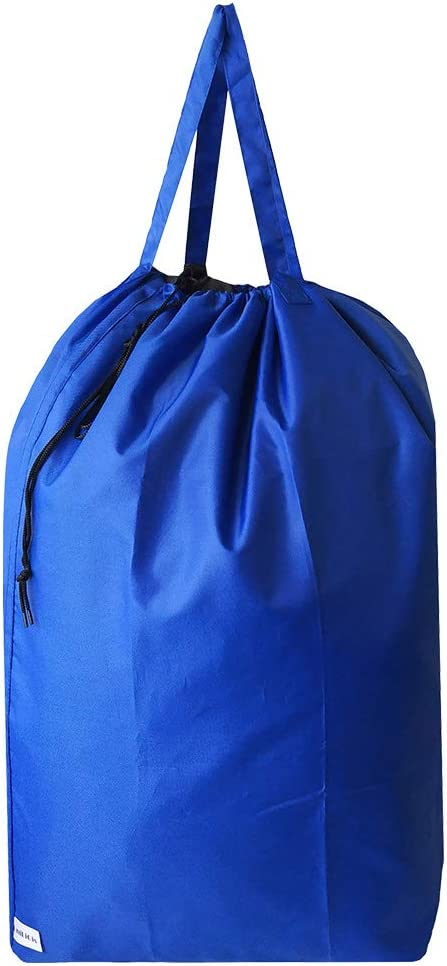 UniLiGis Tear Proof Nylon Laundry Bag with Handles,Travel Laundry Bag with Drawstring Closure,Dirty Clothes Bag Fit Most Laundry Hamper or Basket,27.5x34.5 in,RoyalBlue