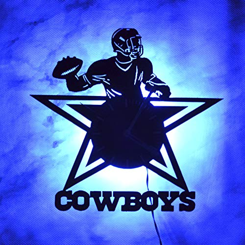 Wall Clock, Night Light, LED Light, Dallas Cowboys Football Team Wall Clock, Vinyl Light Clock, Vintage Wall Clock, Handmade Artwork, Original Wall Clock, Idea for Boys, Fans, Him