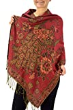 Peach Couture Floral Peacock Reversible Shimmer Layered Pashmina Wrap Shawl Scarf Red