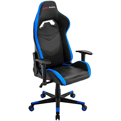 Mars Gaming MGC3 - Silla gaming profesional, inclinación 180° y altura regulables, cojín lumbar y cervical, reposabrazos 2D, ergonómica, azul: Amazon.es: ...