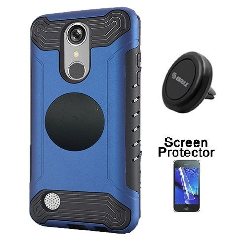 LG Rebel 3 Protective Case, Phone Case for Tracfone LG Rebel 3 Prepaid Smartphone, Screen Protector + Universal Air Vent Magnetic Car Mount Phone Holder (Blue) -  Wireless