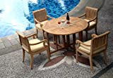 5 Pc Grade-A Teak Wood Dining Set – 48″ Round Butterfly Folding Table And 4 Giva Captain / Arm Chairs #WHDSGV2 For Sale