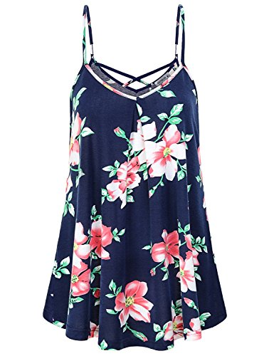 MOQIVGI Floral Cami,Ladies Cute Modern Popular Dressy Flowy Camisoles Sexy Relaxed Fit Vneck Sleeveless Tank Tops Women Flattering Loose Aline Spaghetti Strap Tunic Beach Summer Outfits Blue ()