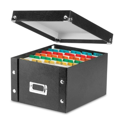 Snap-N-Store Collapsible Index Card File Box, Holds 1100 Cards of 5 x 8 Inches, Black (SNS01647) Size: 5 x 8 Inches, Model: SNS01647, Office/School Supply Store